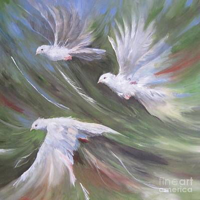 Painting - Birds Three by Paula Marsh