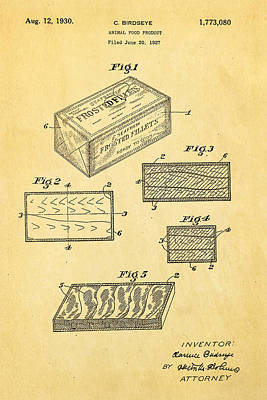 Birdseye Photograph - Birdseye Frozen Food Patent Art 1930 by Ian Monk