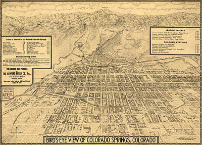 Birdseye Drawing - Birdseye Map Of Colorado Springs - 1909 by Eric Glaser