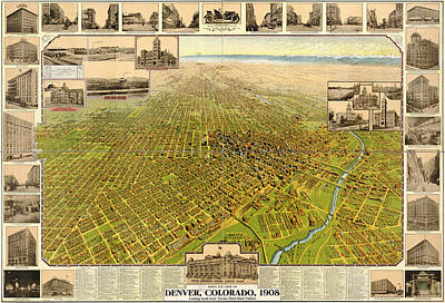 Mountain Drawings - Birdseye Map of Denver Colorado - 1908 by Eric Glaser