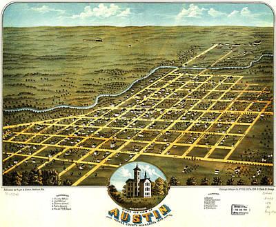Birdseye View Painting - Birdseye View Of Austin Minnesota 1870 by MotionAge Designs