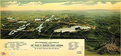 Birdseye View Painting - Birdseye View Of Waukesha County Wisconsin 1890 by MotionAge Designs