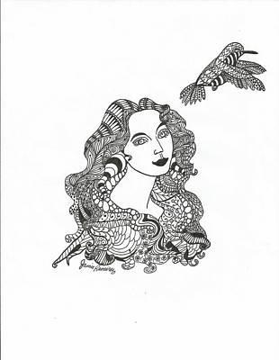 Meditative Drawing - Birdwatcher Wild Ink by Jamie Ramirez