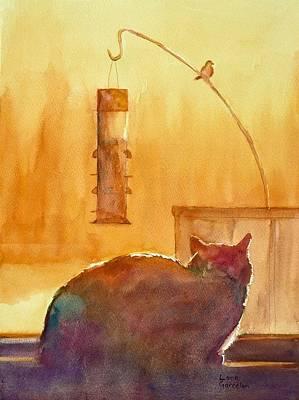 Sit-ins Painting - Birdwatching by Lora Garcelon