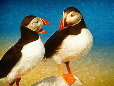 Digital Art - Birdy Gossip Twins by T T