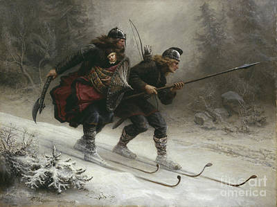 Ski Painting - Birkebeinerne The Kings Soldiers by Knud Bergslien