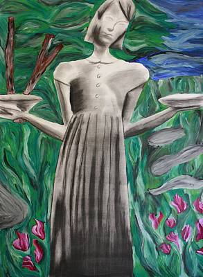 Woman In Cemetary Painting - Birl Girl by Rebecca Schoof