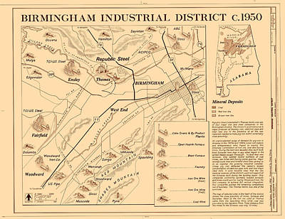 Alabama Drawing - Birmingham Alabama Industrial District 1950 by Mountain Dreams
