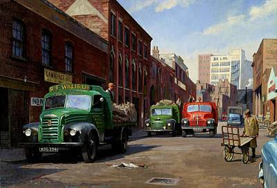 Streetscenes Painting - Birmingham Fruit And Veg Market. by Mike  Jeffries