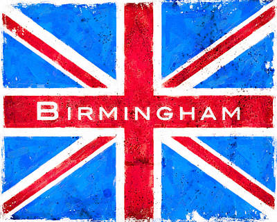Digital Art - Birmingham Vintage Union Jack Flag by Mark E Tisdale