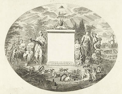 Cornucopia Drawing - Birth And Marriage Memorial Piece, Joannes Bemme by Joannes Bemme And J.f. De Ridder & Comp.
