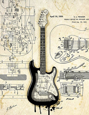 Fender Strat Digital Art - Fender Strat Birth Certificate by Gary Bodnar