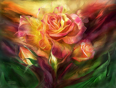 Multi Colored Mixed Media - Birth Of A Rose by Carol Cavalaris
