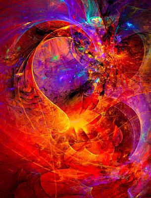 Red Abstract Art Digital Art - Birth Of A Wish by Modern Art Prints