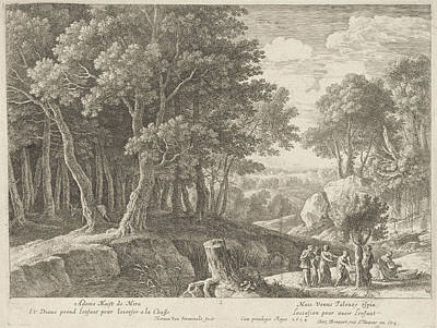 Naiad Drawing - Birth Of Adonis, Herman Van Swanevelt, Henri Bonnart by Herman Van Swanevelt And Henri Bonnart (i)