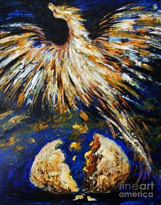 Art Print featuring the painting Birth Of The Phoenix by Karen  Ferrand Carroll