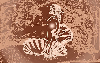 Copper Drawing - Birth Of Venus In Copper by