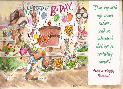 Birthday Cake Drawing - Birthday Bang by C  A Oliver