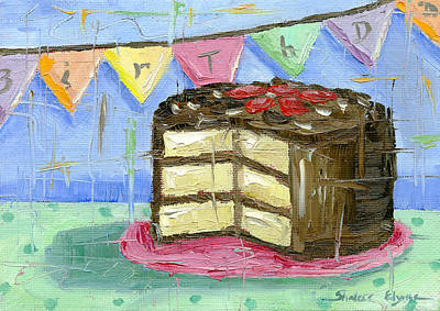 Chocolate Cake Painting - Birthday Bunting Cake by Shalece Elynne