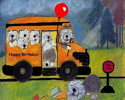 Mixed Media - Birthday Bus by Cathy Howard