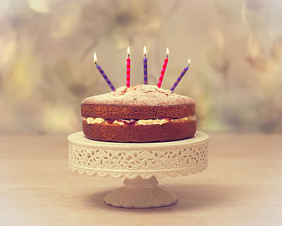 Candle Stand Photograph - Birthday Cake by Amanda Elwell