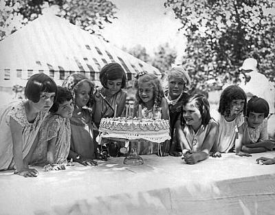Birthday Cake Girl And Friends Art Print by Underwood Archives
