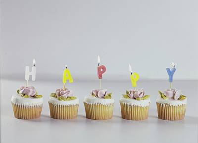 Leisure Photograph - Birthday Cupcakes by Romulo Yanes