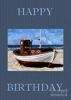 Digital Art - Birthday Fishing Boat by JH Designs