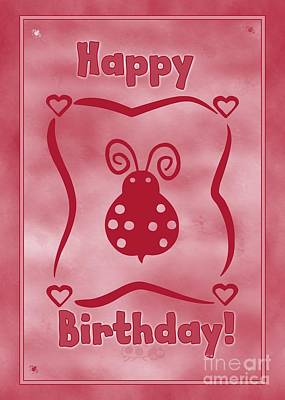 Digital Art - Birthday Ladybug by JH Designs
