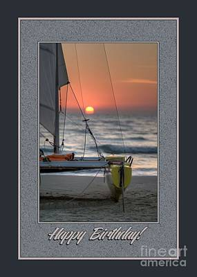 Digital Art - Birthday Sailboat by JH Designs