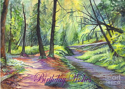 Birthday Wishes-a Woodland Path Art Print by Carol Wisniewski