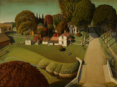 Grant Wood Painting - Birthplace Of Herbert Hoover by Celestial Images