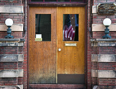 Bisbee Photograph - Historic Bisbee Building And American Flag by Dave Dilli