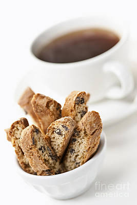 Biscotti And Coffee Art Print by Elena Elisseeva