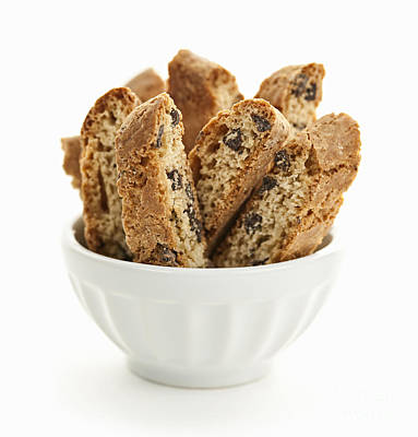 Almond Photograph - Biscotti Cookies In Bowl by Elena Elisseeva