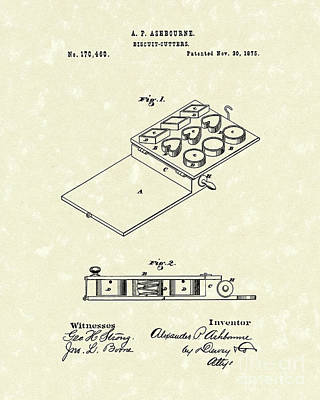 Drawing - Biscuit Cutters 1875 Patent Art by Prior Art Design