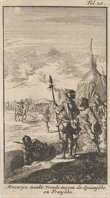 Bishop Drawing - Bishop Mazarin Close The Peace Treaty Of Cherasco by Caspar Luyken And Boudewijn Van Der Aa