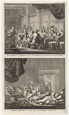 Drunken Drawing - Bishops At A Table And Drunken Bishops Asleep In A Room by Jan Luyken And Jacobus Van Hardenberg And Barent Visscher