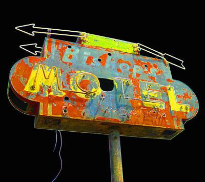 Photograph - Bishop's Motel - Black by Larry Hunter