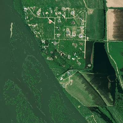 Bismarck Flooding, Usa, Satellite Image Art Print by Science Photo Library