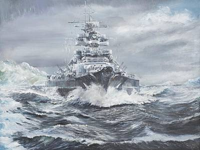Bismarck Off Greenland Coast  Art Print