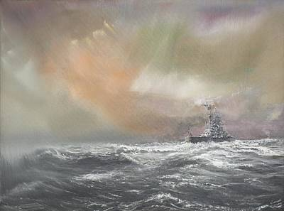 Suffolk Painting - Bismarck Signals Prinz Eugen  by Vincent Alexander Booth