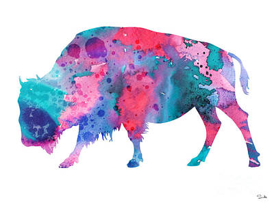 Bison Wall Art - Painting - Bison 2 by Watercolor Girl