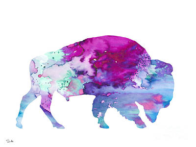 Bison Art Painting - Bison 4 by Watercolor Girl