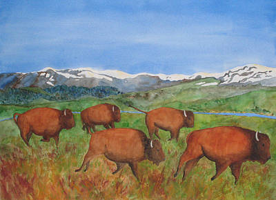 Painting - Bison At Yellowstone by Patricia Beebe