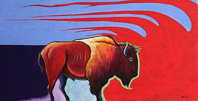 Bison In The Winds Of Change Art Print by Joe  Triano