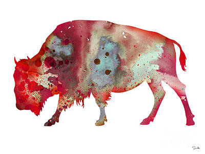 Bison Painting - Bison by Watercolor Girl