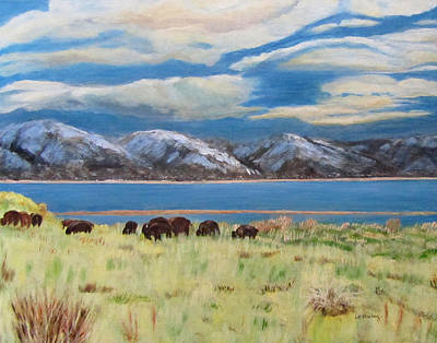 Painting - Bison On Antelope Island by Linda Feinberg