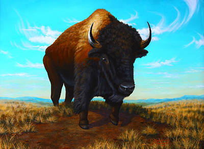 Bison On The Knoll Art Print by Clay Hibbard