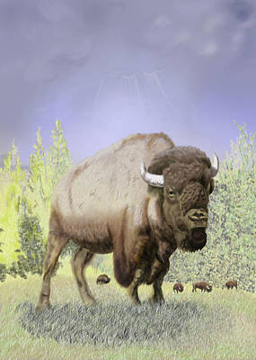 Digital Art - Bison On The Range by Thomas J Herring